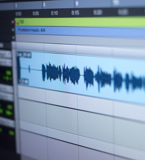 close up of an audio recording wave on a computer screen