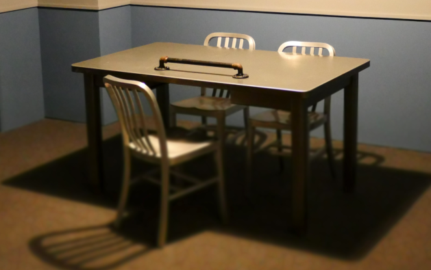 interrogation table and chairs